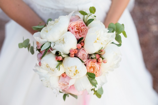 wedding bouquet, white peony and david austin