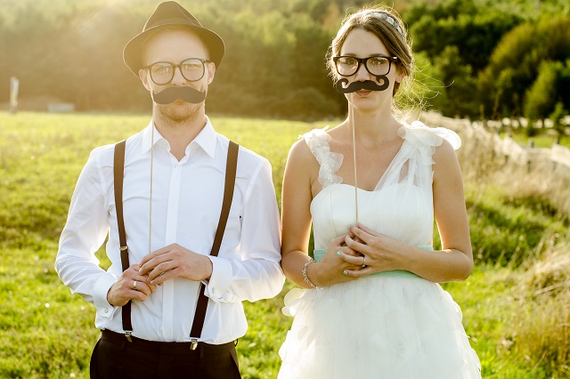Happy couple on wedding day. Vintage wedding.