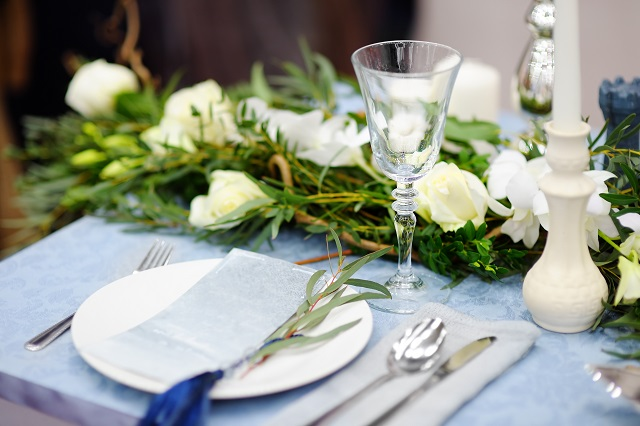 Table set for wedding reception